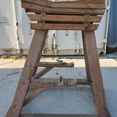 301  Custom Saddle Rack on Wheels Custom wood saddle rack on wheels.  Saddle rack measures 43