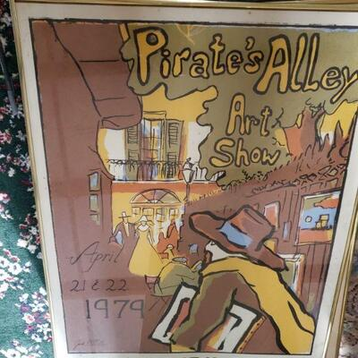 https://www.ebay.com/itm/114484161204LAR1005A  Pirate's Alley Art Show Framed Poster Pickup Only Auction