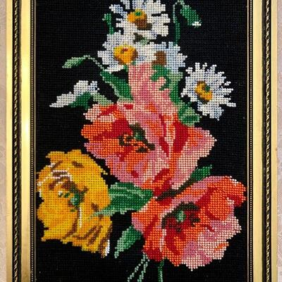 "$100 Unique Beaded Needle Point/ Gold Frame: 14"" H x 10 "" W"