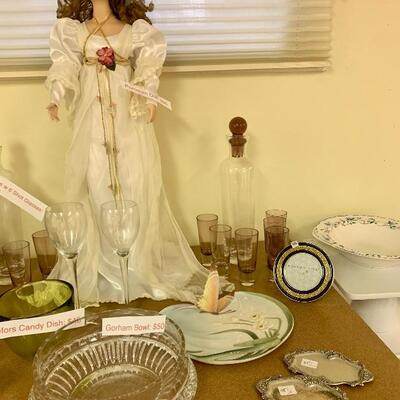 Seymore Mann Wedding  Porcelain Doll - New in New in Box w Papers/ Franz Butterfly Dish,   2 Sets Purple Tinted Decanters w Shot Glasses...