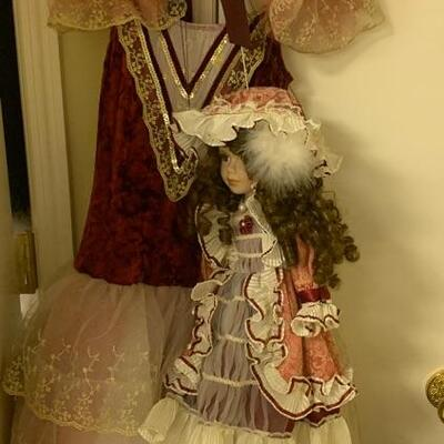 $125 Peasant Ballet  Dress  & Porcelain Twin Marionette/ Dress fits size range 8-10 / Accessories Included