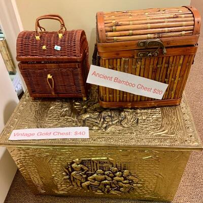 Decorators Boxes: Vintage, Bamboo, Treasure Chest