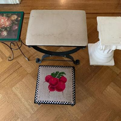 "Choose From:   Green Floral Stand: 12""x 12"""" Too x 19"" High Or  Needle Point ""Radishes"" Black Iron Foot Rest: 14"" x 14""  Top x 7.6""..."