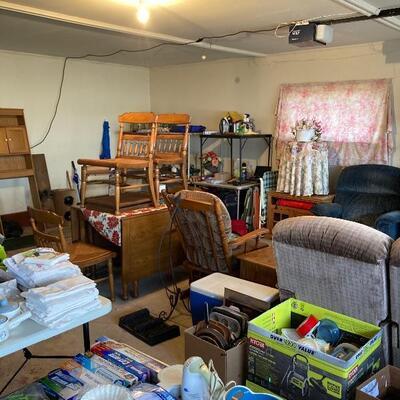 Garage full of house furniture, Deep drop leaf, Lazy Boys & more