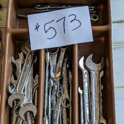 #573 Sectioned container full of wrenches, misc brands $20
