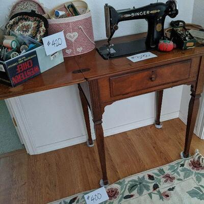 """#392 View 2 Vintage Singer 101 w/ cabinet with a """"Potter"""" motor and """"spider"""" Wick for oiling 1930 very rare. $250"""