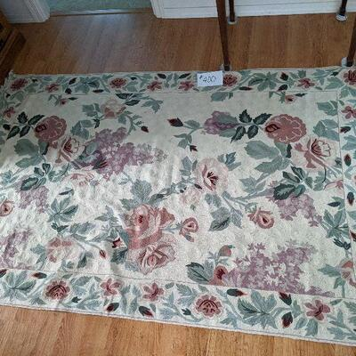 """#400 floral chain stitched rug 48"""" x 6""""2"""" $125"""