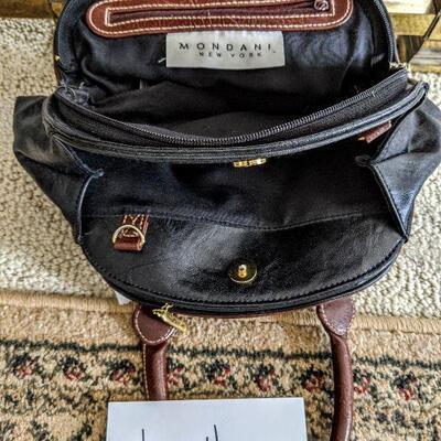#155 View 2 Mondani leather bag black/brown  $30