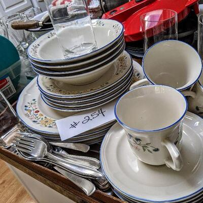 #254 Brickoven Stoneware setting for 4. Dinner, salad, bowls cups with saucers, glass ware and even flatware. Nice starter kit. $20/all