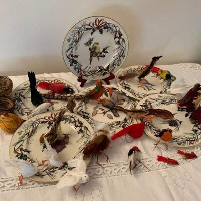 Christmas Birds and Plates