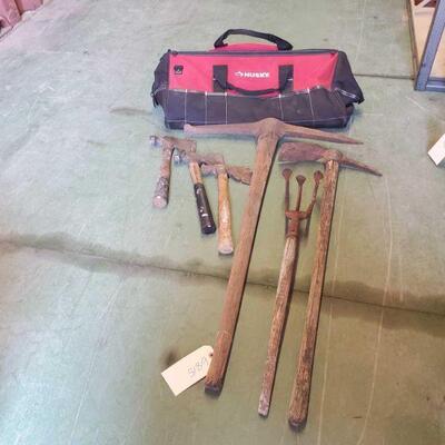 6815  Tool Bag, Hatchets, Hand Tiller, And picks Tool Bag, Hatchets, Hand Tiller, And picks
