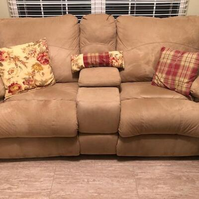 Beige Love Seat with 2 Recliners and center storage holder