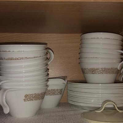 Correl  Cups, small dishes, Creamer cup,
