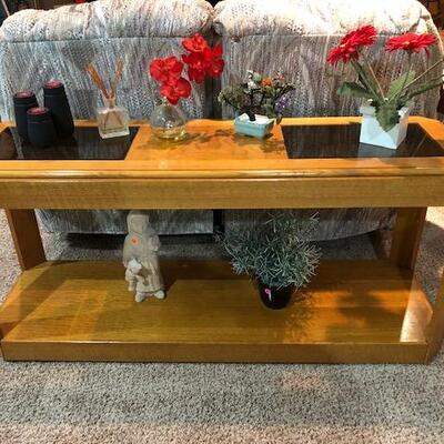 Glass side Table lower shelf and Glass upper shelf Decorative Candles and Planters