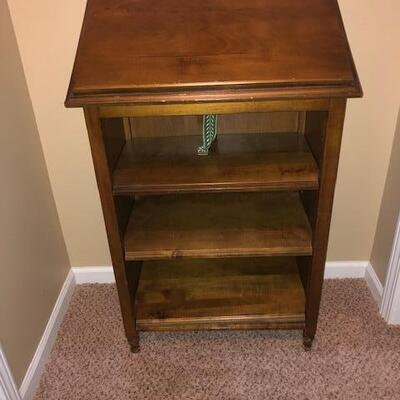 Entry Table with shelving below and adjustable angle Top for displaying Family Tree Book or whatever show piece you select