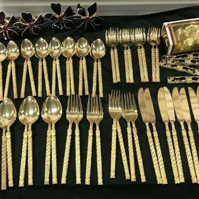 https://www.ebay.com/itm/124441307771KG101- 48 PIECE GOLD ORLEANS STEEL UTENSIL DINNER SET SERVEWARE AND NAPKIN RINGS Auction  Ebay