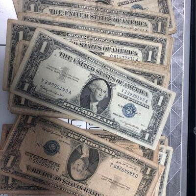 LAR4008 $1 US Silver Certificate $5 each - $4.50 each for 5 or more. 100 available Ages Ago Estate Sales Eastbank / NOLA Collectibles...