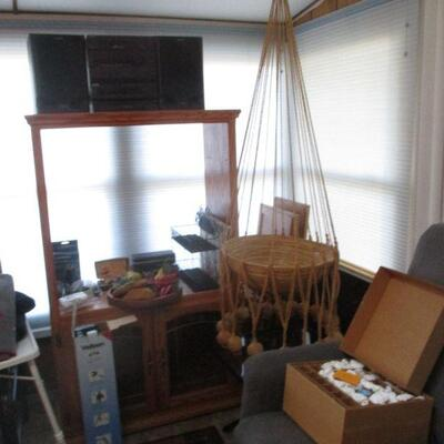 Shelf, interesting macrame, barely used small lift chair.