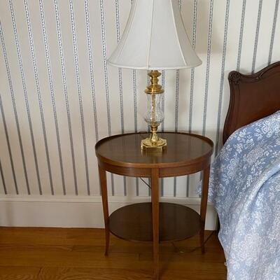 A pair of Waterford lamps and a pair of Mersman tables