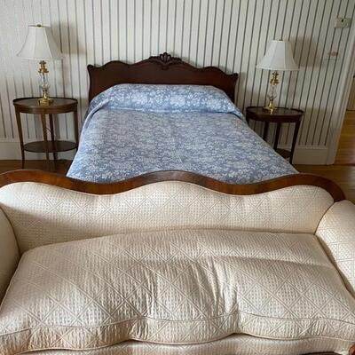 Mahogany full sized bed  and newly reupholstered Empire sofa