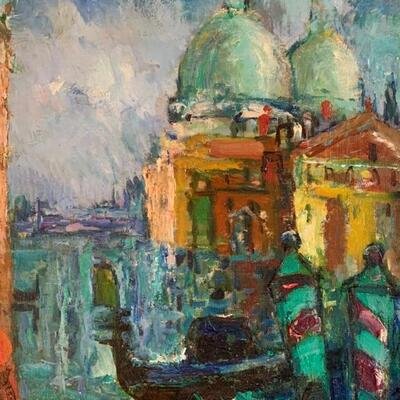 Mid-century oil painting of Venice by Pricert