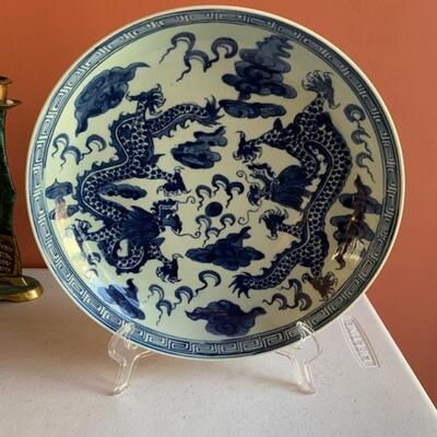 Chinese export plate, blue and white