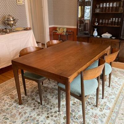 MCM dining table and chairs, made in Denmark, purchased in 1956, mid-century modern