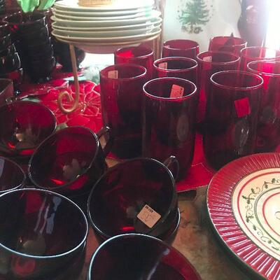 Large Assortment of Ruby Red Glass