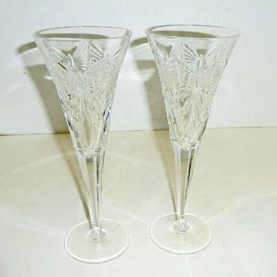 Waterford signed flutes PAIR
