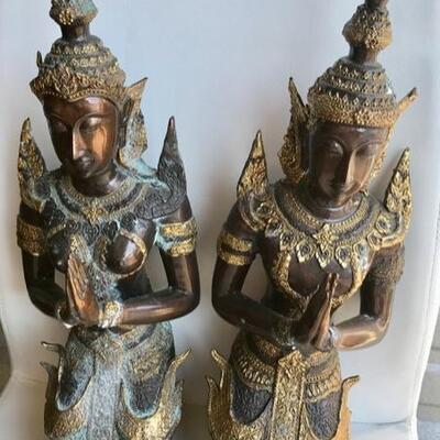 Indonesian bronze gods pair $600