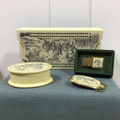 Cribbage box and etched items