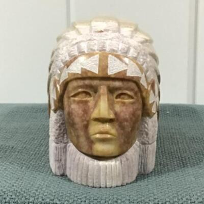 Indian chief carved stone