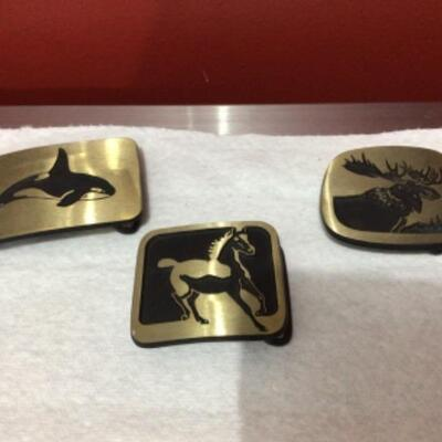 Brass belt buckle trio