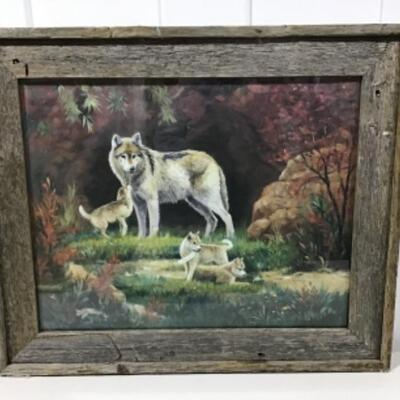 Wolf mother and pups framed art