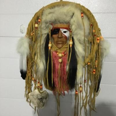 Indian mask with fur