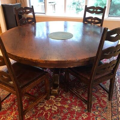 Large Bloomingdale's Round Dining Table on single pedestal.