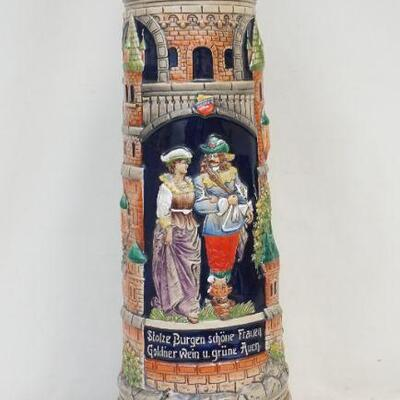 Large Vintage GERZ Hand Painted Collectible Lidded Beer Stein. Castle Themed. Measures 21