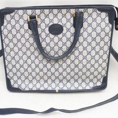 Authentic Vintage Gucci Navy Monogram Canvas Leather Laptop Bag/Tote/Shoulder Bag. Measures appr. 15