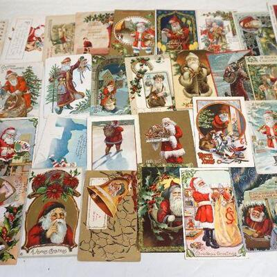 36 Antique Christmas Postcards. Many are rare cards with Saint Nicholas / Santa..Circa 1900-1915. Die Cut, Embossed, Litho. Many with the...