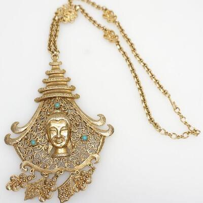 Huge Pauline Rader Vintage Asian Motif Dangle Necklace (Quan Yin Chain). Pendant is 6