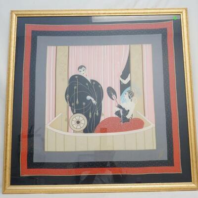 Erte L'Opera Art Nouveau silk scarf Artist-signed Erte. Measures 37