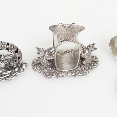 Vintage 20th Century Figural Napkin Rings. Victorian Style after the originals, Silver Plate Napkin Rings