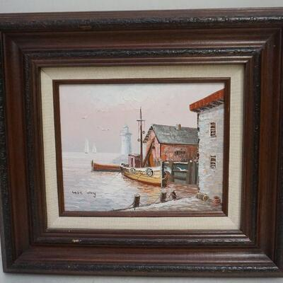 Original Mid Century Max Savy (French 1918-2010) Oil on Board Harbor View with Lighthouse. Max Savy lived and worked in France. He was...