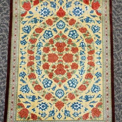 Small Hand Knotted Contemporary 20th c. Signed Silk Qum Rug. Roses and floral motif. Measures 31