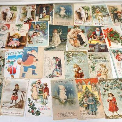 36 Antique Christmas Postcards. Many are rare cards with Children or Santa..Circa 1900-1915. Die Cut, Embossed, Litho. Many with the...