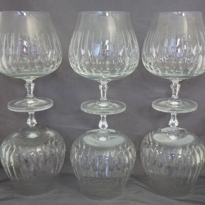 Set of Six Vintage Orrefors Cut Crystal Snifters. Each 5 7/8