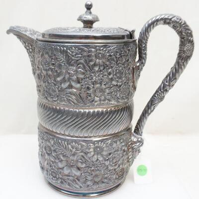 Antique American Victorian c.1868-1878 Meriden Quadruple Plated Large Cold Water Pitcher. Lined in Porcelain. Floral Repousse and fluted...