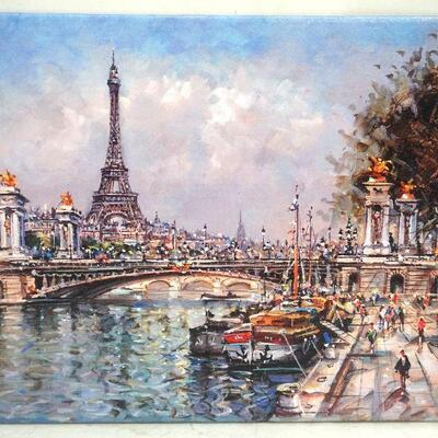 Vintage Mid Century Oleograph Print of a view of the Seine and the Eiffel Tower as seen from the Right Bank. Well done. On artist board,...