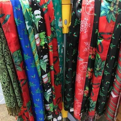 Nice selection of holiday scarves - only $8 each!