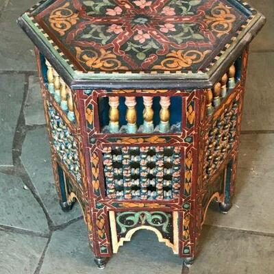 https://www.ebay.com/itm/114561641556FL0024 ECLECTIC MULTICOLOR HEXAGONAL END TABLE Pickup Only Buy-it-Now  $125.00